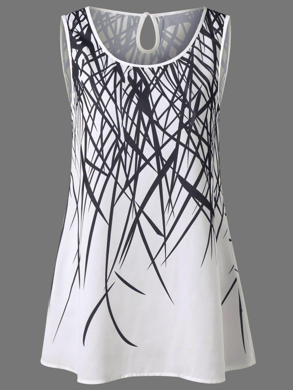 Cut Out Graphic Tank Top - WHITE XL