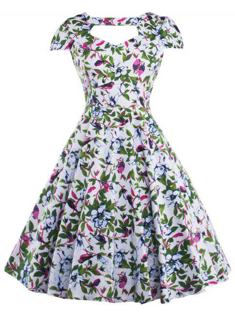 Cut Out Allover Print Vintage Choker Dress - GREEN M