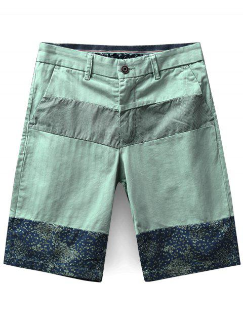 64a8ee6c88 41% OFF] 2019 Striped And Spot Printed Zip Fly Shorts In LIGHT GREEN ...