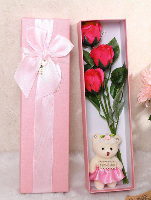 3 Pcs Handmade Rose Soap Artificial Flowers and Bear - TUTTI FRUTTI