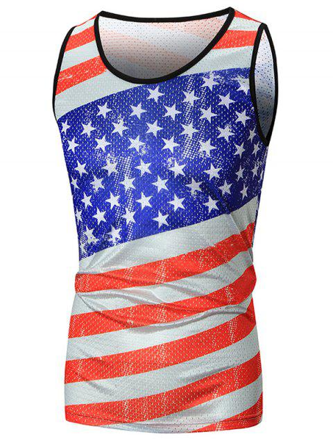 Stripe and Star Printed Mesh Tank Top - COLORMIX 2XL