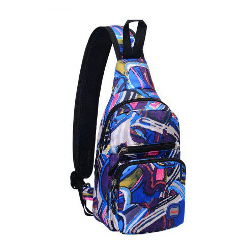 Graphic Print Waterproof Chest Bag - BLUE