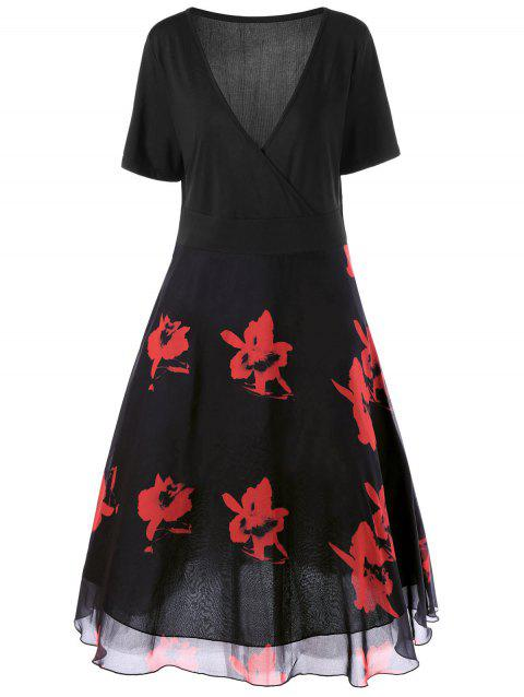 Two Layered Plus Size Floral Midi Surplice Dress - BLACK/RED 2XL