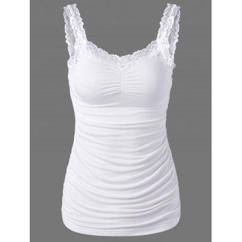 Ruched Lace Trim Tank Top