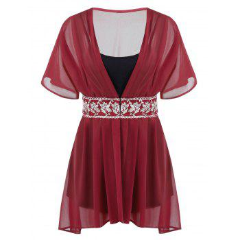 Plus Size Embroidered Chiffon Blouse With Cami Top