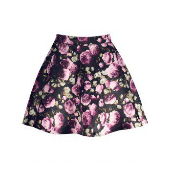 High Waisted Floral Print A Line Skirt