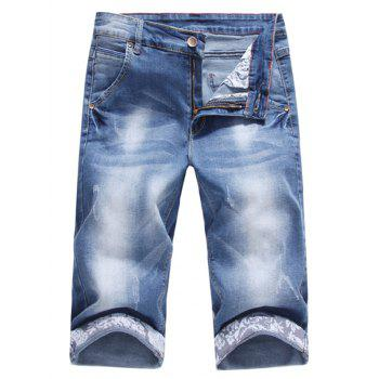 Slim Fit Scratches Denim Shorts