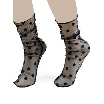 Polka Dot Jacquard Sheer Lace Socks