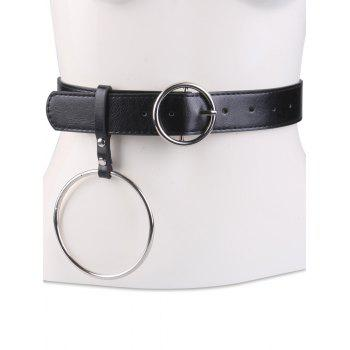 Metallic Round Pin Buckle Circle Belt - BLACK BLACK