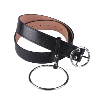 Metallic Round Pin Buckle Circle Belt -  BLACK