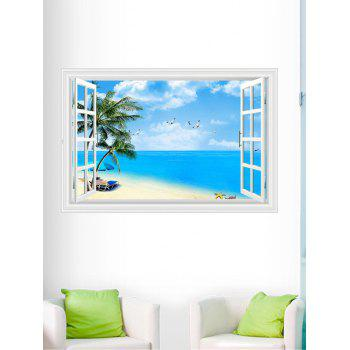 3D Palm Beach Fake Window Wall Sticker