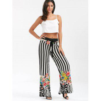 Floral Striped Lace Up Wide Leg Pants - COLORMIX L