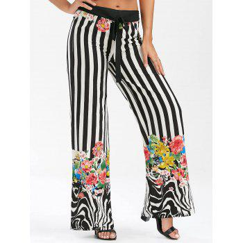 Floral Striped Lace Up Wide Leg Pants