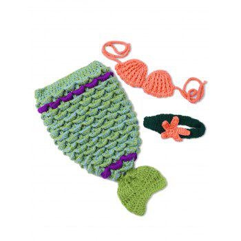 Photography Prop Knitted Mermaid Costume For Newborn Baby - GREEN