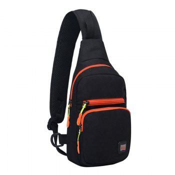 Nylon Waterproof Multi Pockets Chest Bag -  BLACK