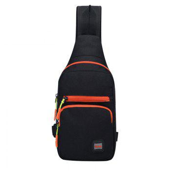 Nylon Waterproof Multi Pockets Chest Bag - BLACK BLACK