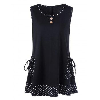 Plus Size Polka Dot Pockets Sleeveless T-Shirt