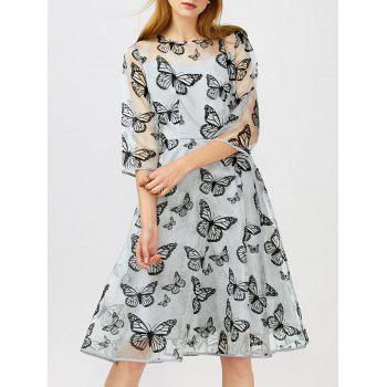 Butterfly Print Organza Fit and Flare Dress