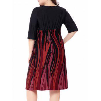 Fire Printed Plus Size Elastic Waist Surplice Dress - ORANGE RED ORANGE RED