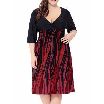 Fire Printed Plus Size Elastic Waist Surplice Dress - ORANGE RED 5XL