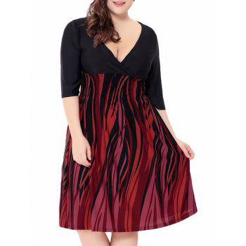 Fire Printed Plus Size Elastic Waist Surplice Dress