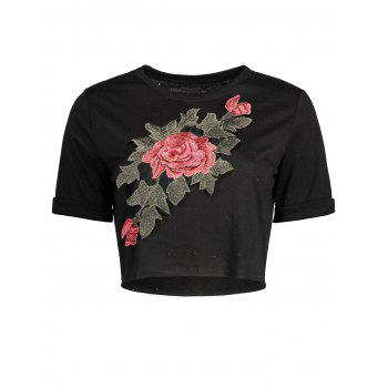 Floral Embroidered Distressed Cropped T-shirt