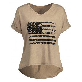 American Flag Graphic High Low Tee