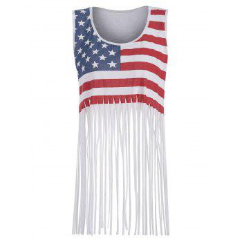 American Flag Print Fringed Tank Top - WHITE M