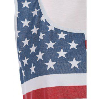 American Flag Print Fringed Tank Top - WHITE WHITE