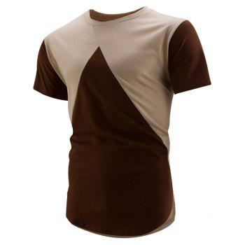 High-Low Hem Colorblock T-Shirt - EARTHY XL