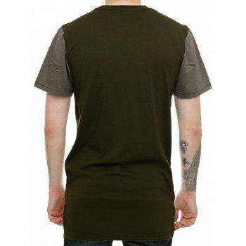 High-Low Hem Colorblock T-Shirt - GREEN GREEN