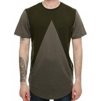 High-Low Hem Colorblock T-Shirt - M M