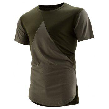 High-Low Hem Colorblock T-Shirt - GREEN M