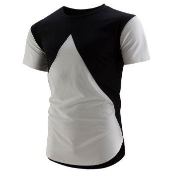 High-Low Hem Colorblock T-Shirt - BLACK XL