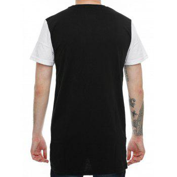 High-Low Hem Colorblock T-Shirt - BLACK BLACK