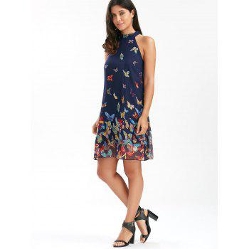 Butterfly Print Chiffon Swing Dress - PURPLISH BLUE PURPLISH BLUE