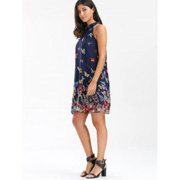 Butterfly Print Chiffon Swing Dress - S S