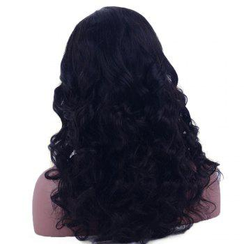 Long Lace Front Water Wave  Shaggy Human Hair Wig - BLACK BLACK