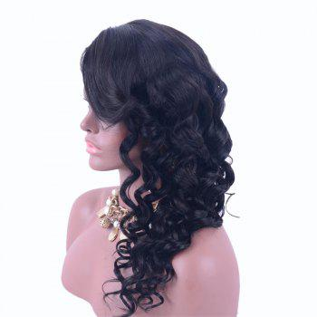 Dyeable Permed Long Lace Front Side Part Loose Wave 100% Human Hair Wig - BLACK BLACK