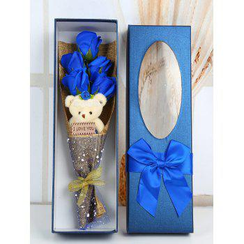 5 Pcs Handmade Soap Rose Artificial Flowers and Bear - ROYAL ROYAL