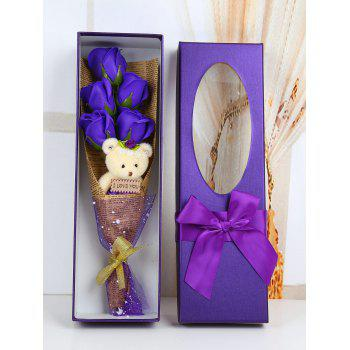 5 Pcs Handmade Soap Rose Artificial Flowers and Bear - PURPLE PURPLE