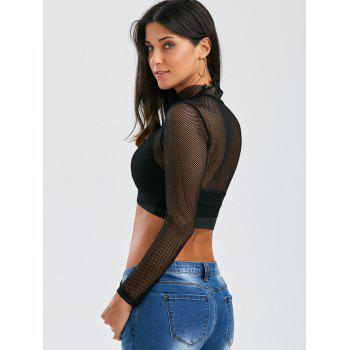 See Through Fishnet Crop Top - S S