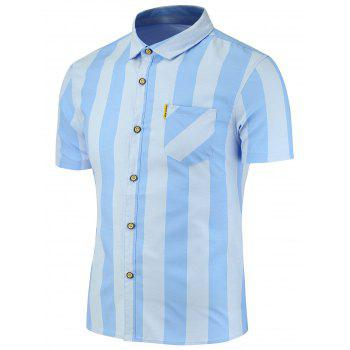 Short Sleeves Vertical Stripes Pattern Shirt
