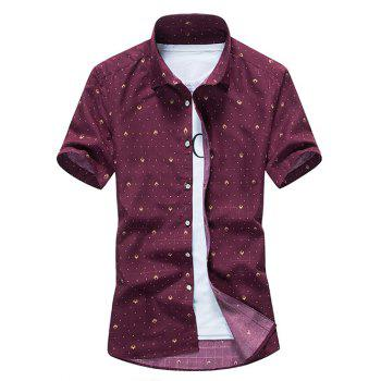 Dot Print Slim Button Up Shirt