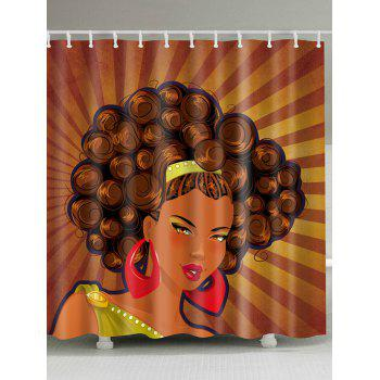Unique Afro Girl Waterproof Fabric Shower Curtain