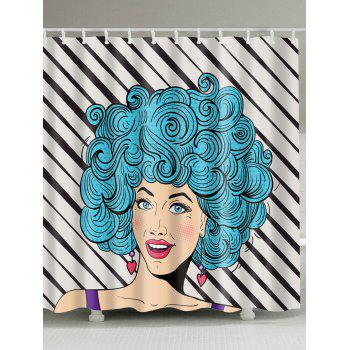 Unique Afro Hairstyle Girl Print Shower Curtain