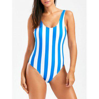 Stripe Backless One Piece Swimsuit