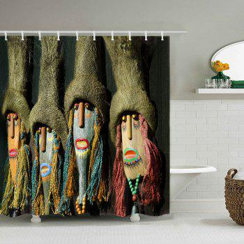Native Indian Mask Print Shower Curtain - COLORMIX W71 INCH*L71 INCH