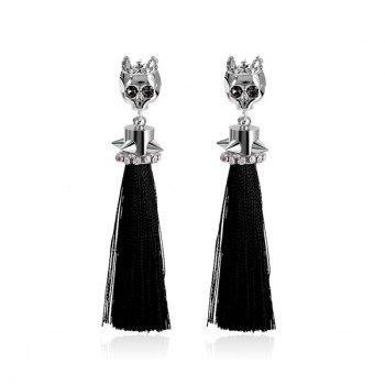 Rhinestone Rivets Skull Tassel Drop Earrings