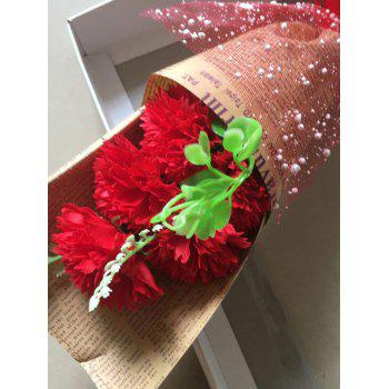 7 Pcs Creative Soap Carnations Artificial Flowers Mother's Day Gift - BRIGHT RED